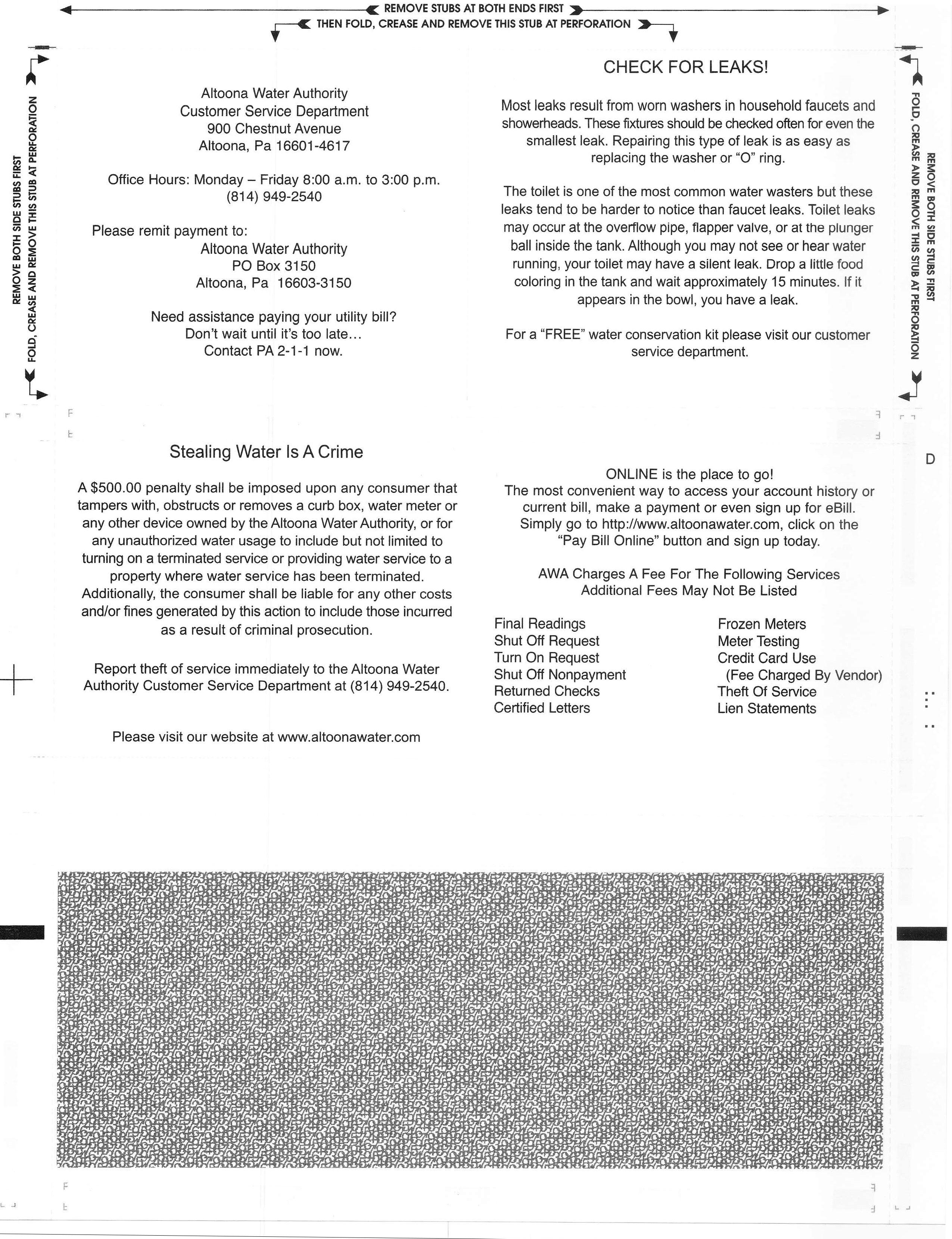 sample of bill (back)